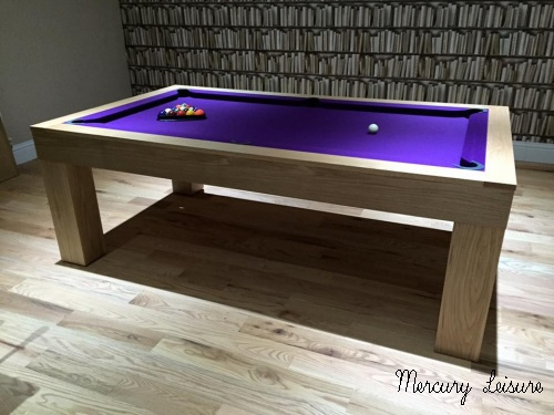 Solid oak pool table and converting pool dining table from for Oak beauty pool table